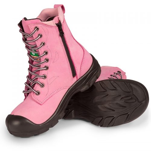 Pink womens steel toe work boots S558
