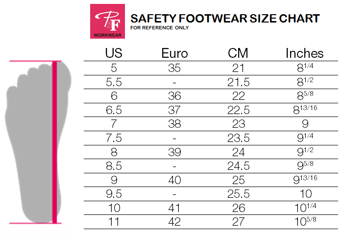 Sizing Chart - P&F Workwear safety footwear