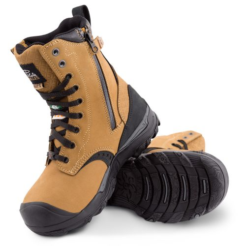 Womens steel toe work boots, waterproof, slip resistant, tan colour
