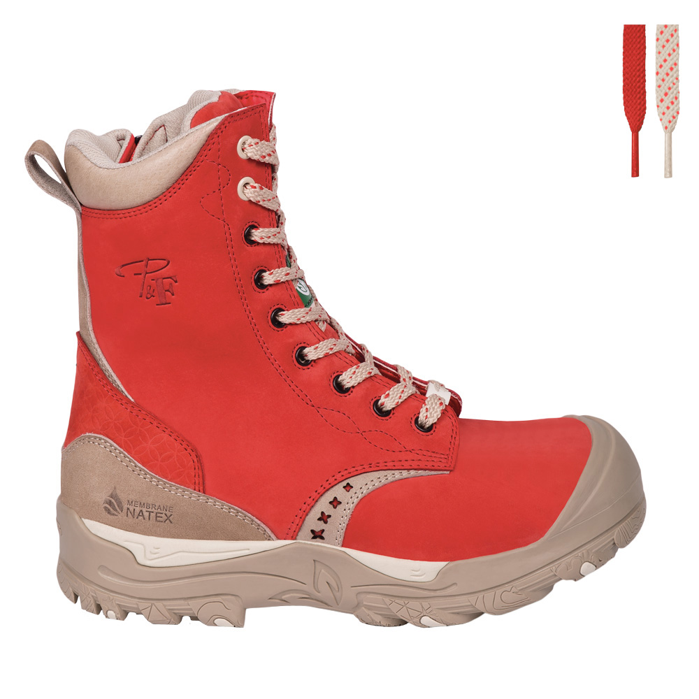 Womens steel toe work boots, waterproof, slip resistant, red colour