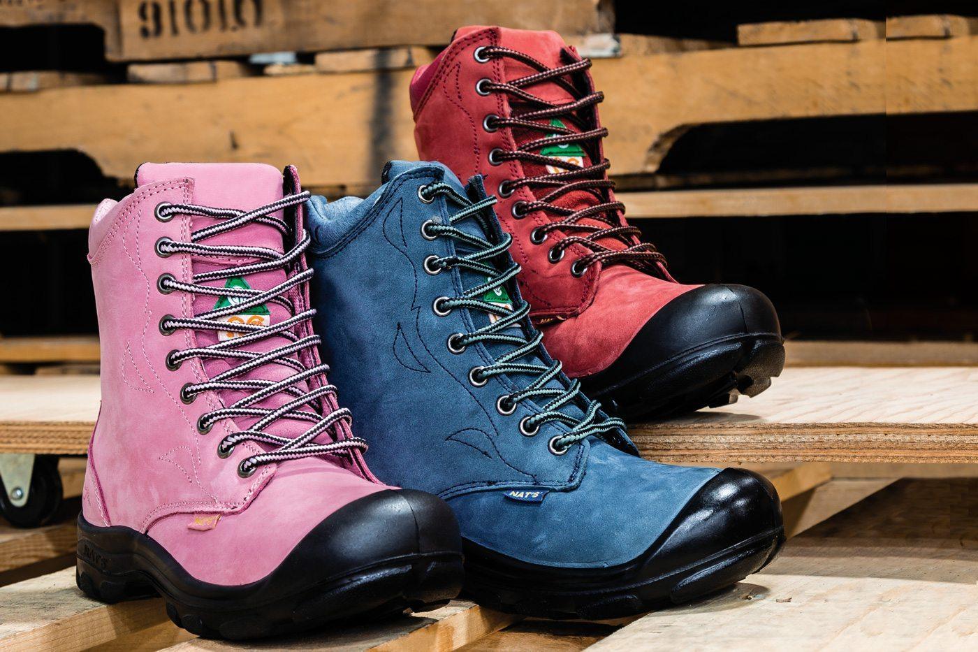 Women steel toe work boots